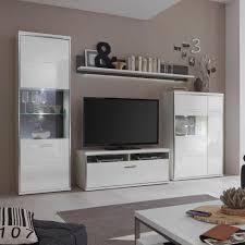 Wohnzimmerschrank Folieren Wohnwand Trento Ii Weiß Hochglanz At46042 Möbilia De