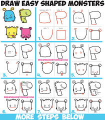 draw cute cartoon monsters simple shapes letters