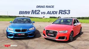 bmw vs audi race drag race audi rs3 vs bmw m2