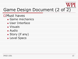imgd 1001 game design documents ppt video online download