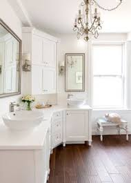 eggshell home master bathroom marble tile niche glass shelves