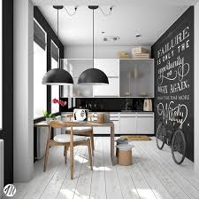 kitchen simple scandinavian kitchen features blackboard wall also scandinavian dining room features inspirational chalkboard quotes white cabinet opaque doors windows glossy black backsplash black
