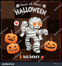 vintage halloween poster design vector mummy stock vector