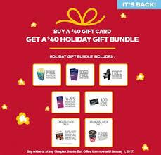 cineplex online cineplex buy 40 gift card get a 40 holiday gift bundle until