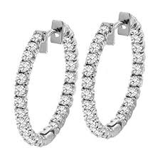 gold diamond hoop earrings 2 50 ct tw inside outside diamond hoops in 14k