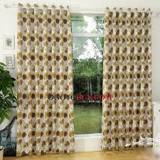 Yellow Brown Curtains Quality Linen Cotton Decorative Floral Curtains In Yellow And