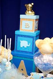 different baby shower custom made baby boxes to go with the different shades of blue for