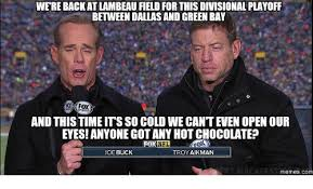 Joe Buck Meme - werebackatlambeau field for this divisional playoff between