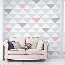 pink and grey pattern wallpaper non woven wallpaper no yk65 triangles grey white pink mural