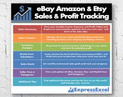 Etsy Spreadsheet Ebay Sales Profit Tracking Even Calculator