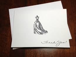 embossed note cards bridal shower thank you note card set embossed wedding gown