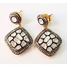 silver earring stunning polki jewelry silver earrings cut diamond 3742