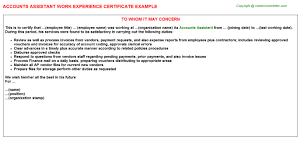 accounts assistant work experience certificate