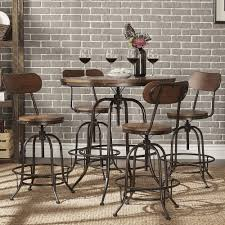 Transitional Dining Room Sets Berwick Industrial Style Round Counter Height Pub Adjustable