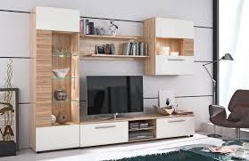 Wohnzimmerschrank Beige Weiß Braune Wohnwand Modern Eiche Weia Gispatcher Wohnzimmer
