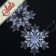 clear 6 inch acrylic glitter snowflake ornaments