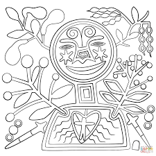 huihol art abstract figure coloring page free printable art