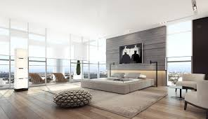 gray interior light gray open bedroom with large window screens and wall panels