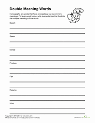Meaning Words Worksheets Same Word Two Meanings Worksheet Education Com