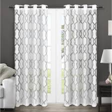 Winter Window Curtains Winter White Burnout Sheer Grommet Top Window Curtain Eh8039