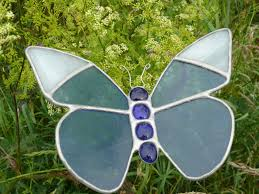 Dragonfly Garden Stained Glass Butterfly Small Blue White Tip Garden Stake