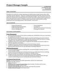 Product Management Resume Samples by Entry Level It Project Manager Resume