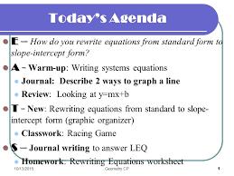 today u0027s agenda e u2013 e u2013 how do you rewrite equations from standard