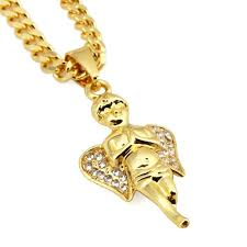 aliexpress buy nyuk mens 39 hip hop jewelry iced out nyuk bling gold angel boy pendant necklace hip hop jewelry micro
