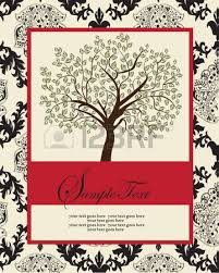 vintage invitation card with ornate abstract floral tree