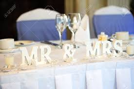 mr mrs wedding table decorations mr mrs decoration on wedding reception table stock photo picture