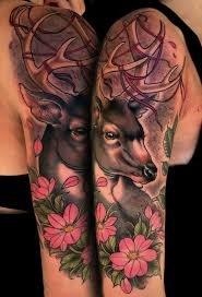 tattoos sleeve amazing color flowers and deer half