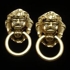 lion door knocker earrings kjl for avon vintage lion door knocker