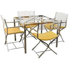 mid century modern chrome glass dining game table and s 4 chrome