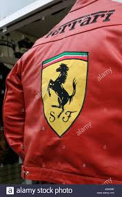 ferrari jacket red leather jacket with ferrari logo on back stock photo royalty