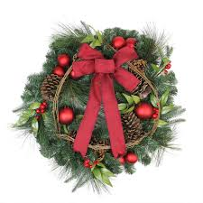 24 pine with ornaments and pine cones artificial wreath