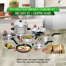 buy 7 pcs induction friendly cookware set free knife set online