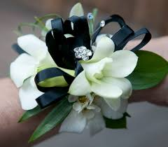 black and white corsage white and blue flower wrist corsage black white orchid corsage