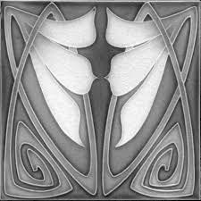 art nouveau arts u0026 crafts floral tile ref 20 grey art nouveau