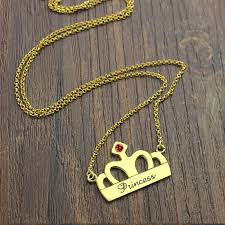 princess necklace with pendant images Crown charm necklace with birthstone name 18k gold plated jpg