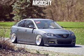 mazda zoom 3 mazda3 mazda 3 bagged air suspension airrex bbs rs tucked stance