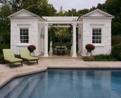 cool pool houses traditional with curved roofline outdoor benches