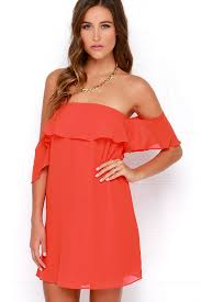 bright red dress red chiffon dress red off the shoulder dress