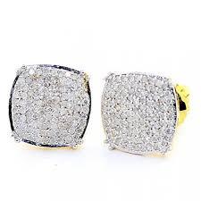 big diamond earrings big diamond stud earrings for men 0 50ct 10k yellow gold pave set