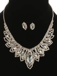 bib necklace rhinestone images Stunning layered rhinestone bib necklace and earring set whimsia jpg