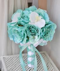teal flowers teal aqua mint navy wedding bouquet sola flowers by sylcadle