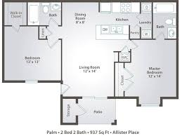 2 bedroom apartment floor plans u0026 pricing u2013 allister place tampa fl