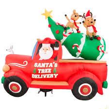 shop living 7 87 ft x 9 35 ft lighted santa s delivery truck