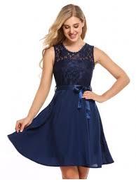 navy blue sleeveless flare and dress