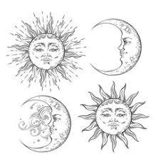 boho chic flash design sun and moon set vector image