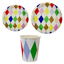 wedding party plates 8pcs lot colorful paper plates cups disposable dinnerware